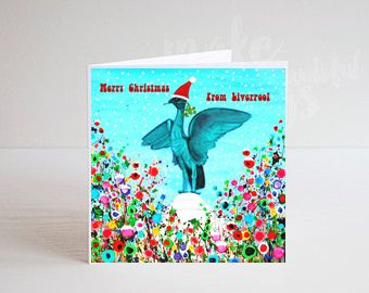 Jo Gough - A Festive Liver Bird with flowers Christmas Card