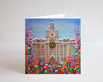 Jo Gough - A Festive Liver Building with flowers Christmas Card