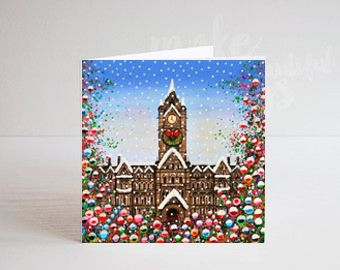 Jo Gough - A Festive Manchester Town Hall with flowers Christmas Card