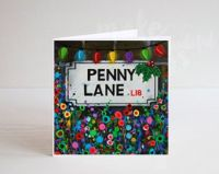 Jo Gough - A Festive Penny Lane St Sign with flowers Christmas Card