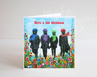 Jo Gough - The Fab Four at Christmas with flowers Christmas Card