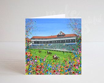 Jo Gough - Chester Racecourse with flowers Greeting Card
