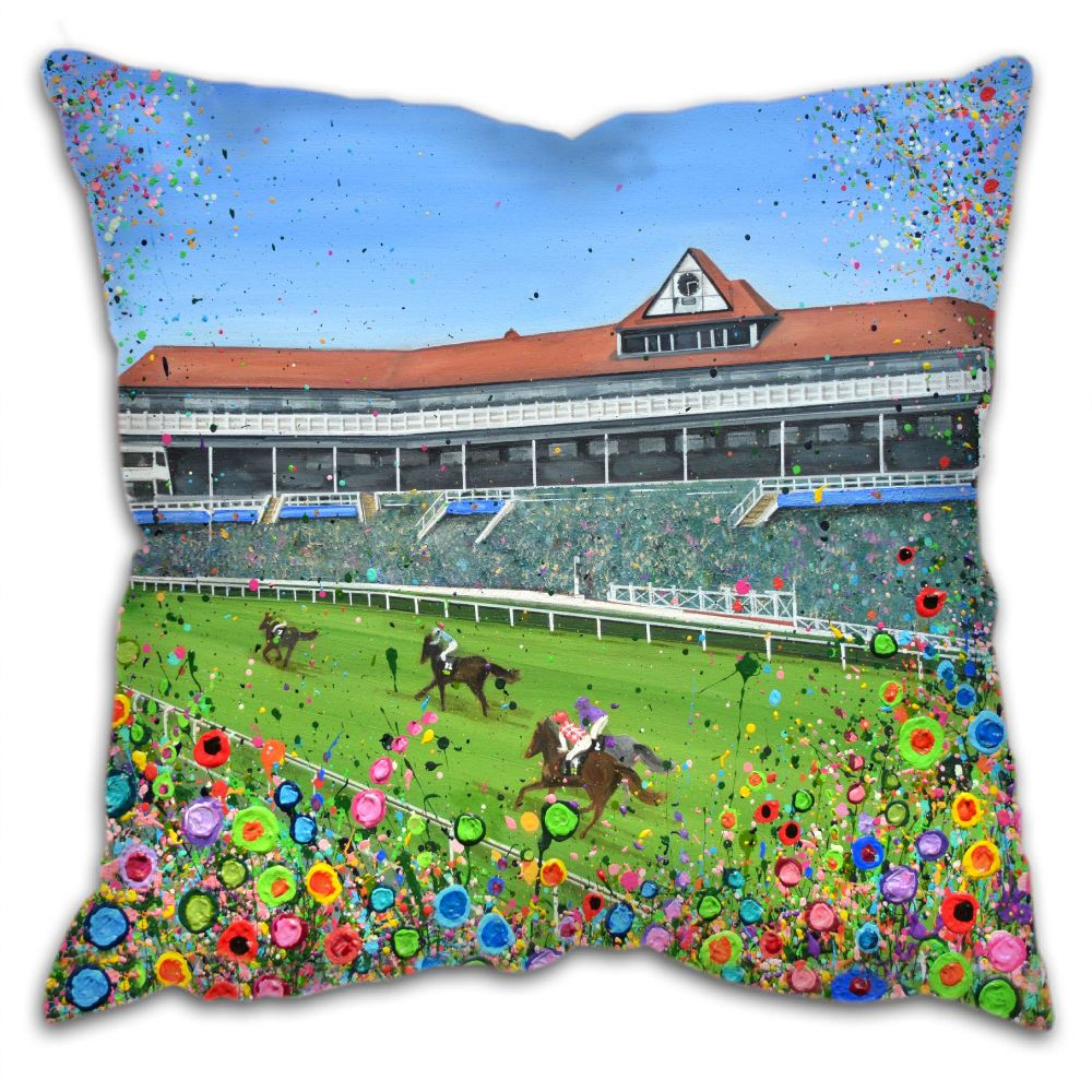Jo Gough - Chester Racecourse with flowers Cushion