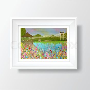 Jo Gough - The Groves, Chester with flowers A4 Print