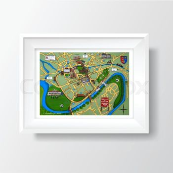 Jo Gough - Chester Map A4 Print