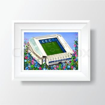 Jo Gough - EFC Stadium with flowers A4 Print