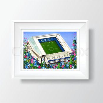 Jo Gough - EFC Stadium with flowers A4 Print