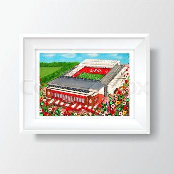 Jo Gough - LFC Stadium with flowers A4 Print