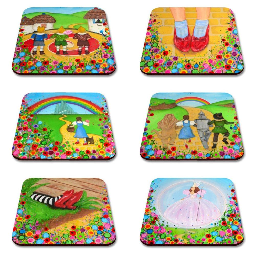 Jo Gough - Complete Set of 6 Wizard of Oz with flowers Coaster