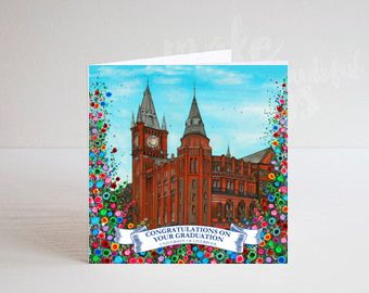 Jo Gough - The Victoria Gallery & Museum with flowers Graduation Card