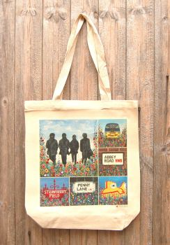 Jo Gough - A Beatles Montage with flowers Tote Bag