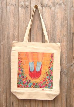 Jo Gough - The Wizard of Oz Ruby Slippers with flowers Tote Bag