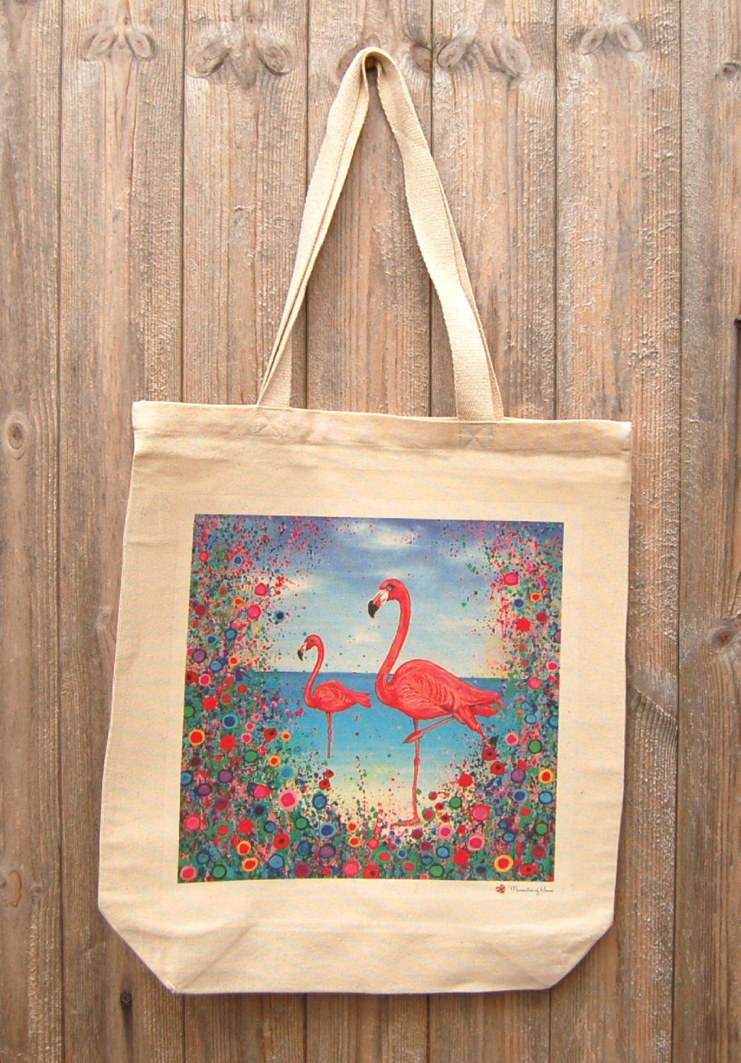 Jo Gough - Flamingo with flowers Tote Bag
