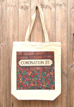 Jo Gough - Coronation Street Sign with flowers Tote Bag