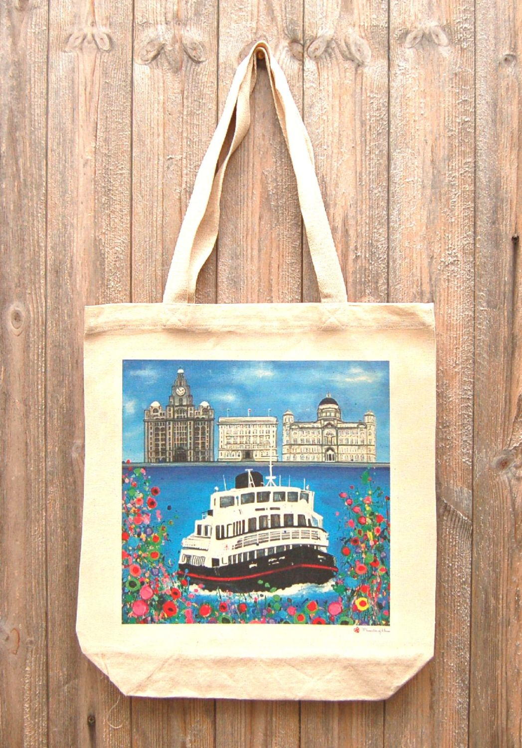 Jo Gough - Liverpool 3 Graces with flowers Tote Bag