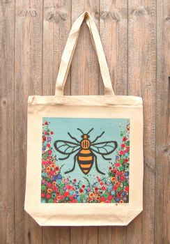 Jo Gough - Manchester Bee with flowers Tote Bag