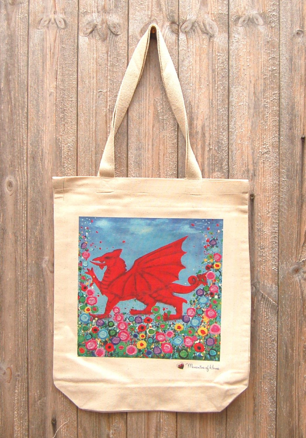 Jo Gough - Welsh Dragon with flowers Tote Bag