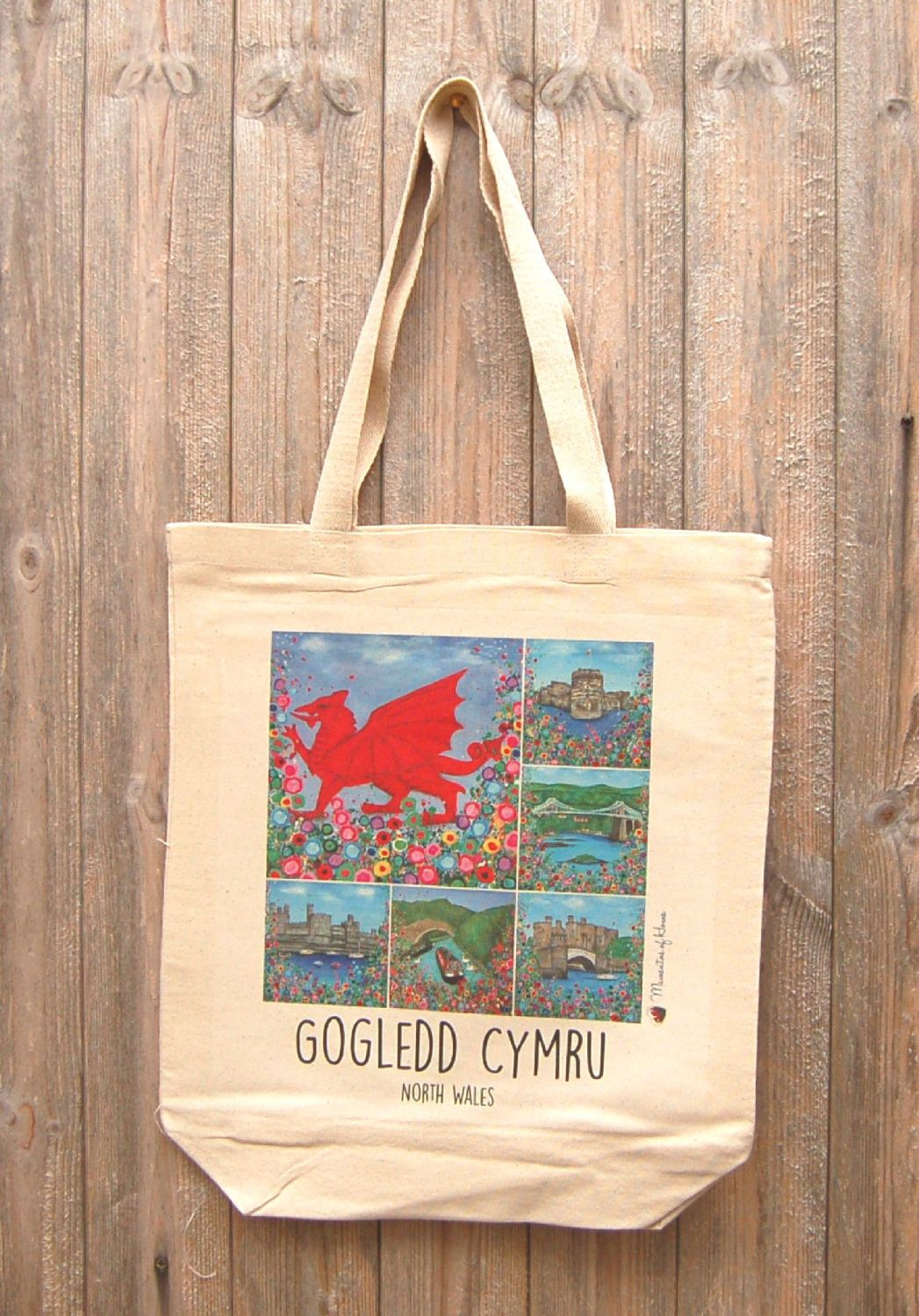 Jo Gough - Welsh Montage with flowers Tote Bag