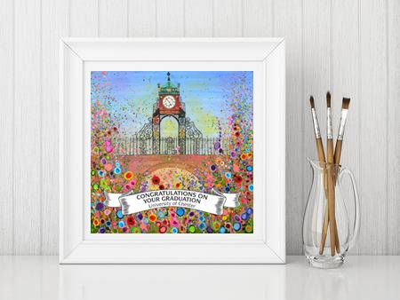 Jo Gough - Chester Clock with flowers - Graduation Print