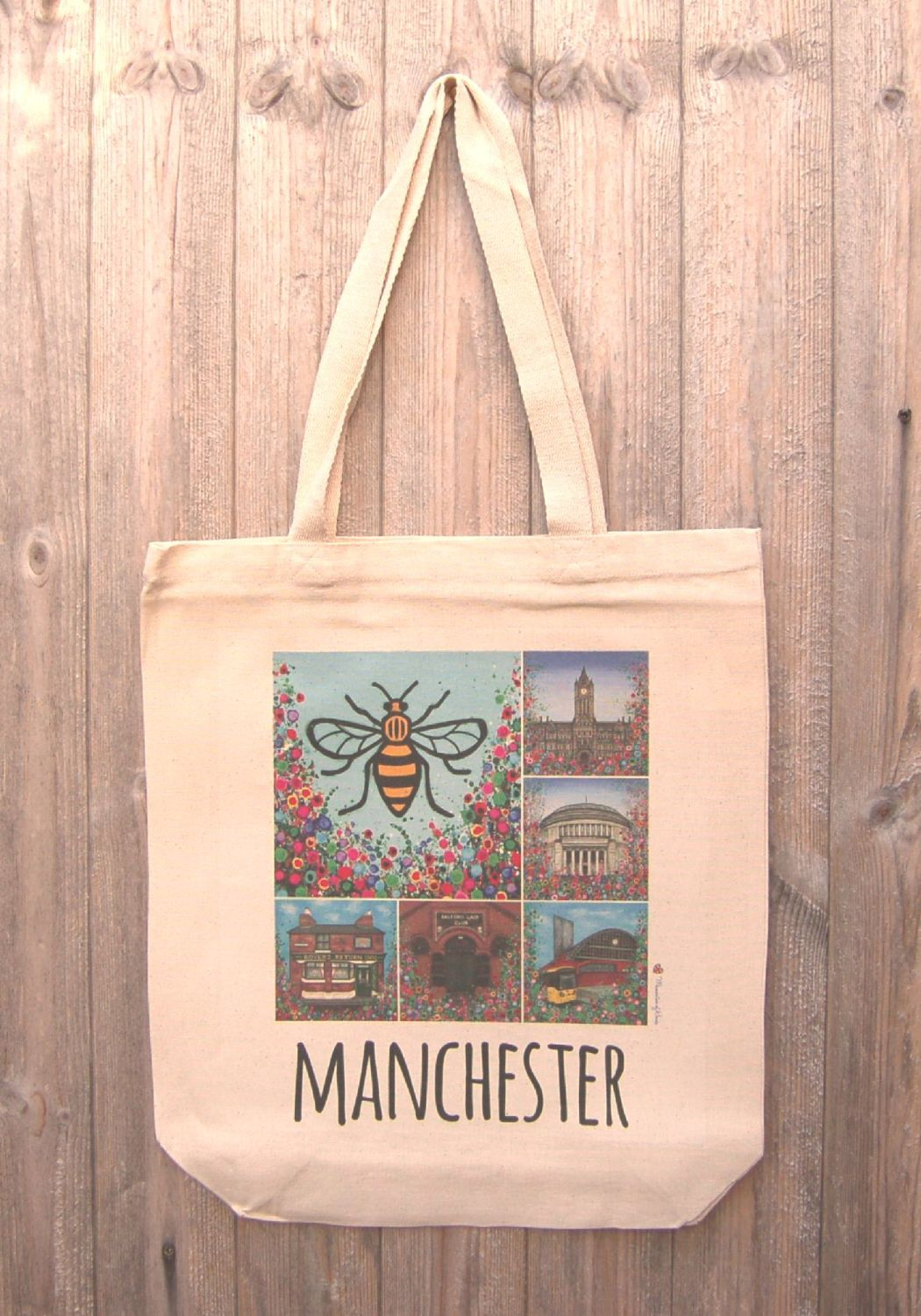 Jo Gough - Manchester Montage with flowers Tote Bag