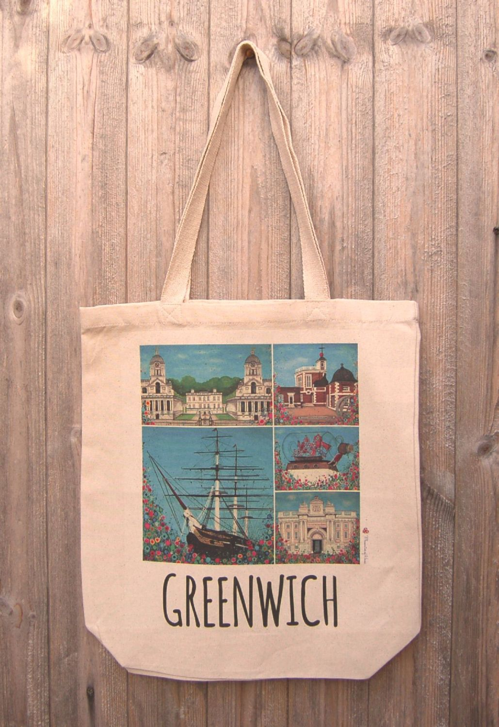 Jo Gough - Greenwich Montage with flowers Tote Bag