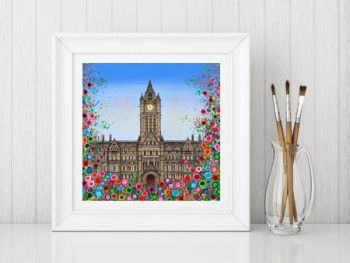 Jo Gough - Manchester Town Hall with flowers Print