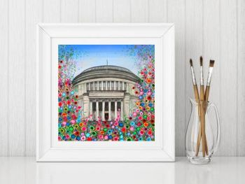 Jo Gough - Manchester Central Library with flowers Print