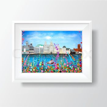 Jo Gough -  Liverpool Skyline with flowers Print