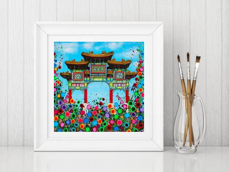 Jo Gough - Liverpool's Chinese Arch with flowers Print From £10