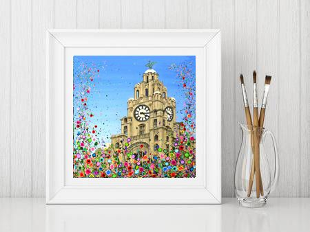 Jo Gough - NEW Liver Building with flowers Print From £10