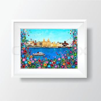 Jo Gough - Liverpool Skyline with flowers Print (NEW)