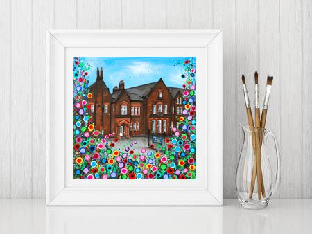 Jo Gough - Quarry Bank School with flowers Print From £10