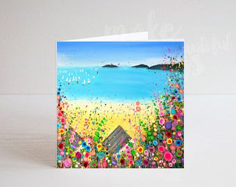 Jo Gough - Abersoch Beach with flowers Greeting Card