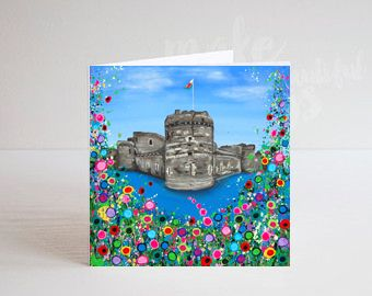 Jo Gough - Beaumaris Castle with flowers Greeting Card