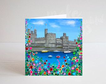 Jo Gough - Caernarfon Castle with flowers Greeting Card