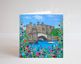 Jo Gough - Conwy Castle with flowers Greeting Card