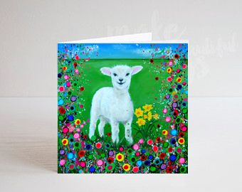 Jo Gough - Welsh Lamb with flowers Greeting Card