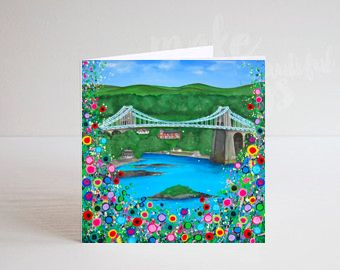 Jo Gough - Menai Bridge with flowers Greeting Card