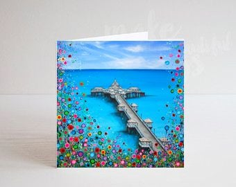 Jo Gough - Llandudno Pier with flowers Greeting Card
