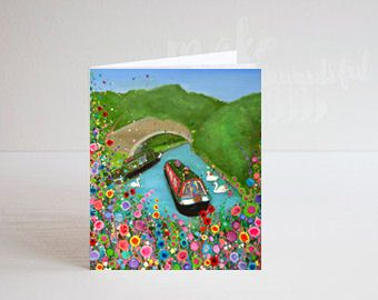 Jo Gough - Canal Boat with flowers Greeting Card