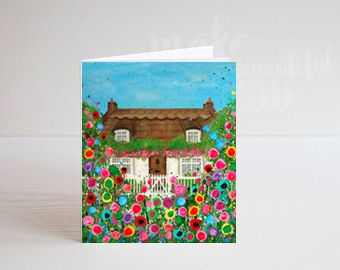 Jo Gough - Cottage with flowers Greeting Card