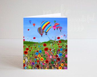 Jo Gough - Hot Air Balloon with flowers Greeting Card