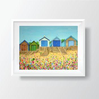 Jo Gough - Abersoch Beach Huts with flowers Print (40x30cm)