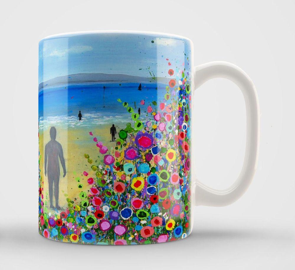 Jo Gough - Crosby Beach Iron Men with flowers Mug