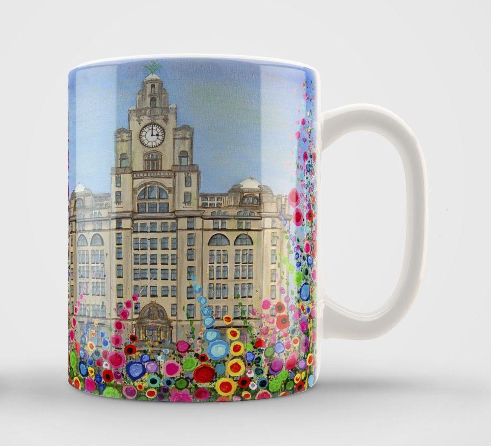 Jo Gough - Liver Building with flowers Mug