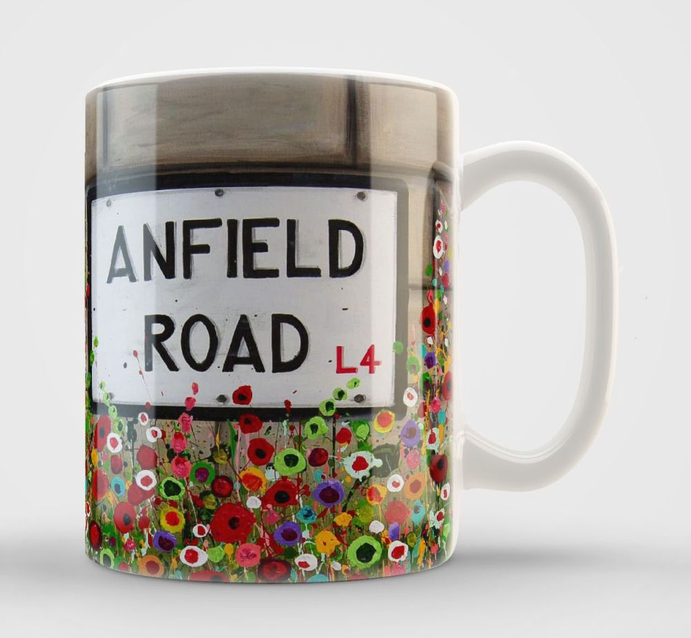 Jo Gough - Anfield Road Sign with flowers Mug