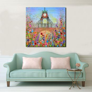 Jo Gough - Chester Clock with flowers Hand Embellished Canvas Print From £125