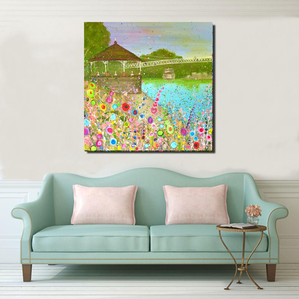 Jo Gough - The Groves with flowers Canvas Print From £65