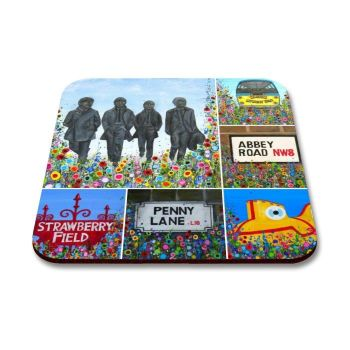 Jo Gough - Beatles Montage with flowers Coaster