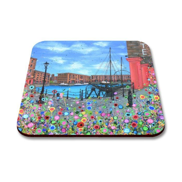Jo Gough - The Albert Dock with flowers Coaster